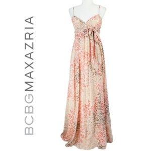 BCBGMaxazria Gorgeous Silk Print Prom Dress